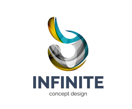 mobius: Infinite business branding icon, created with color overlapping elements. Glossy abstract geometric style