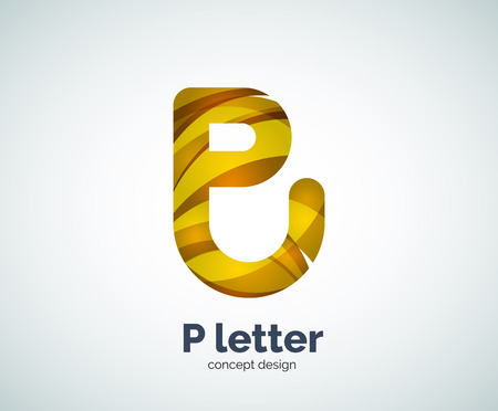 Vector P letter business   modern abstract geometric elegant design. Created with waves Illustration