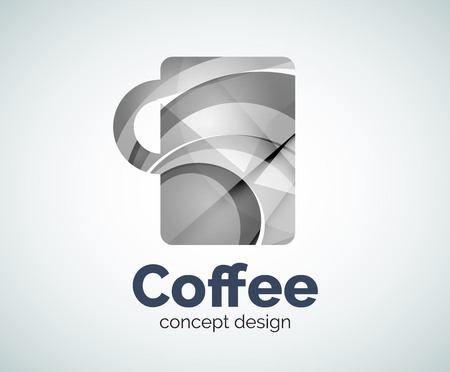 Coffee cup   template, abstract elegant glossy business icon