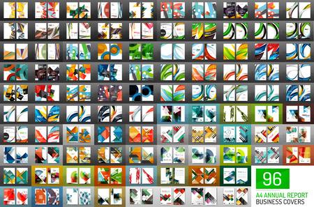 Mega collection de 96 couvertures de rapports annuels vectoriels. Modèles de brochure géométrique d'entreprise