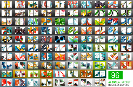 Mega collection of 96 vector annual report covers. Business geometric brochure templates