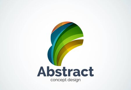 inflating: Abstract bubble logo template, thinking cloud concept or inflating. Color overlapping pieces design style Illustration