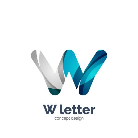 blue metal: Vector W letter  modern abstract geometric elegant design, shiny light effect. Created with flowing waves