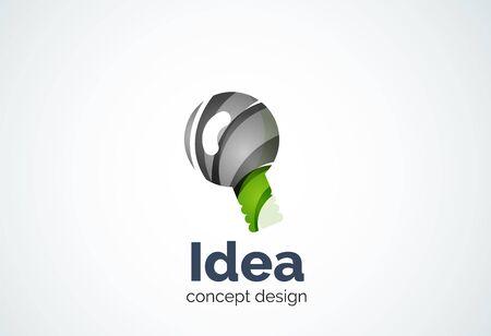 illumination: Light bulb template, new idea, energy or illumination concept. Modern minimal design created with geometric shapes - circles, overlapping elements