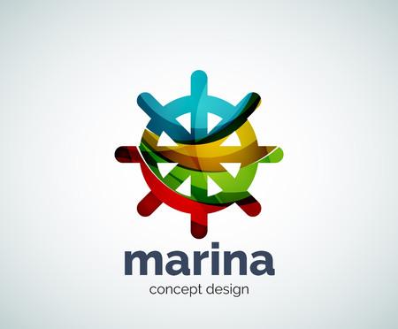 ship steering wheel: Vector marina, steering wheel logo template, abstract business icon Illustration