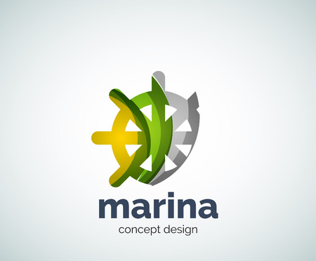 ship steering wheel: Vector marina, steering wheel template, abstract business icon Illustration