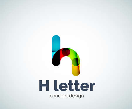 Abstract H geometric letter template. Overlapping transparent wave elements composition