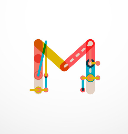 Vector letter created with colorful connected line elements. Abstract geometric design Illustration