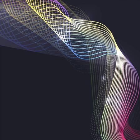 Smoke colorful vector wave on dark background with glowing and effects Illustration