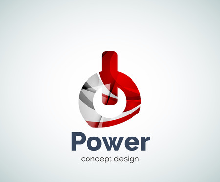 switch off: Power button logo template, abstract geometric glossy business icon