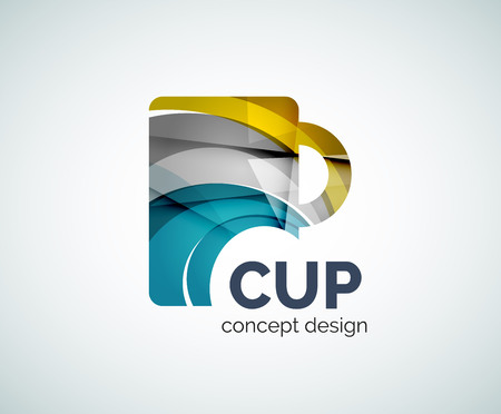 symbol icon: Coffee cup logo template, abstract elegant glossy business icon