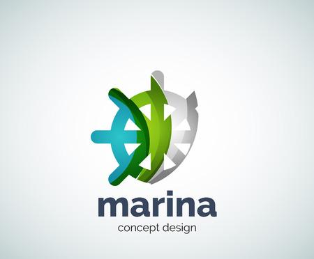 Vector marina, steering wheel logo template, abstract business icon Illustration