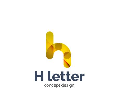 Abstrakte H geometrische Buchstaben Logo Vorlage. Überlappende transparente Wellenelementzusammensetzung