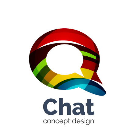 Unusual abstract business vector logo template - chat cloud