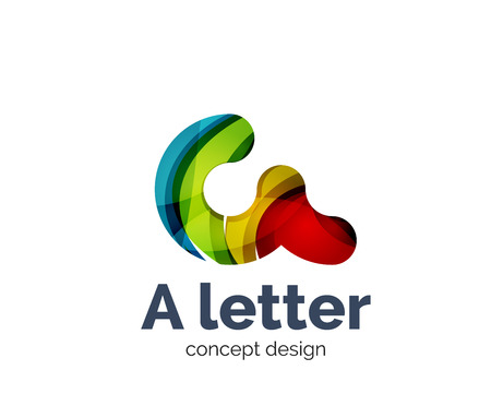 A letter alphabet round style logo business branding icon, created with color overlapping elements. Glossy abstract geometric style, single logotype Illustration