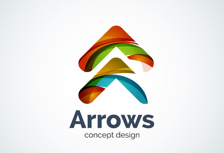 background next: Arrow logo template, next or right concept. Modern minimal design logotype created with geometric shapes - circles, overlapping elements