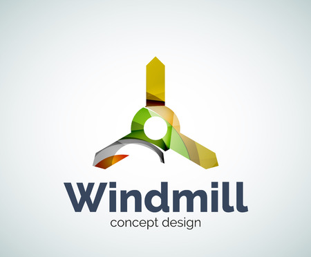 symbol icon: Windmill logo template, abstract elegant glossy business icon