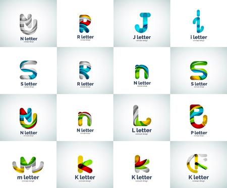 편지 로고 아이콘 벡터 세트, 추상적 인 기하학적 스타일