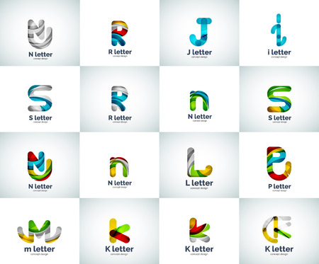 r p m: Vector set of letter logo icons, abstract geometric style Illustration