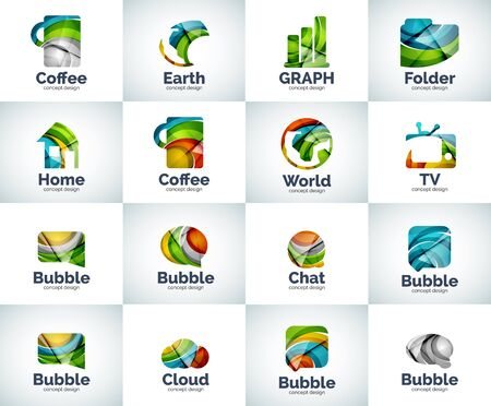 Vector set of abstract unusual internet icons - universal geometric concepts