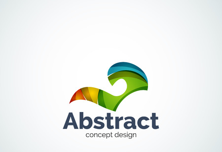 looped shape: Abstract swirl template, smooth elegant shape concept. Color overlapping pieces design style