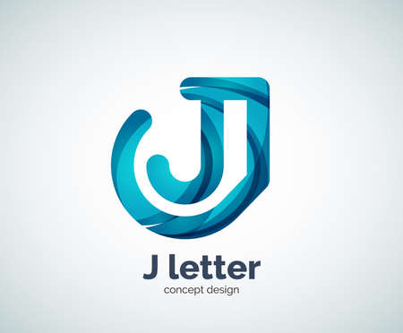 abstract letters: Vector j letter   abstract geometric  template, created with overlapping elements Illustration
