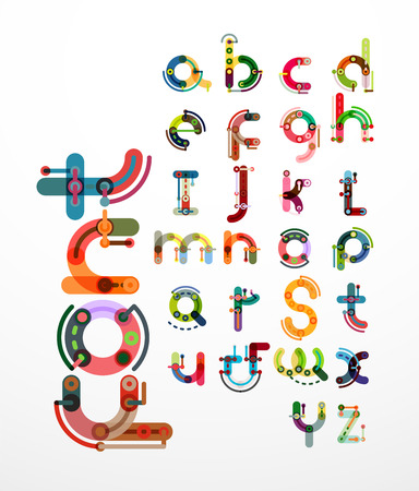 Linear design font, alphabet created with minimal lines connected, cartoon constructor