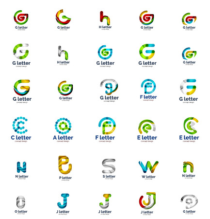s e o: Vector set of abstract letter business  icons, geometric wavy flowing style