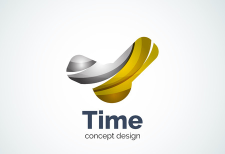 Clock  template, time management business concept. Modern minimal design created with geometric shapes - circles, overlapping elements Illustration
