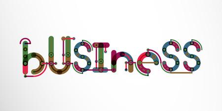 minimalistic: Business word lettering, wire minimalistic thin line design Illustration