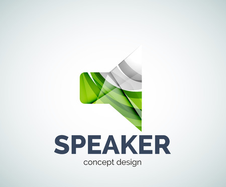 Speaker   business branding icon, created with color overlapping elements. Glossy abstract geometric style Illustration