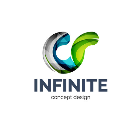 Infinite   business branding icon, created with color overlapping elements. Glossy abstract geometric style Illustration
