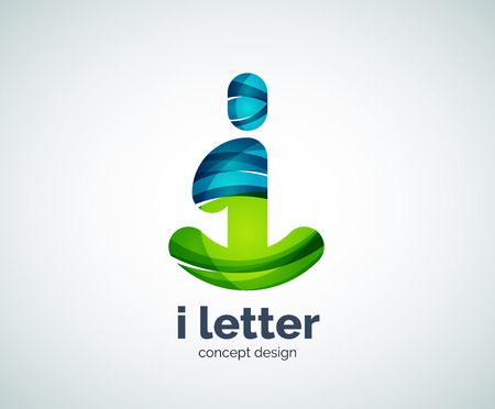 Vector i letter  abstract geometric  template, created with overlapping elements