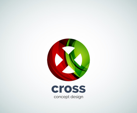 Vector cross  template, abstract business icon