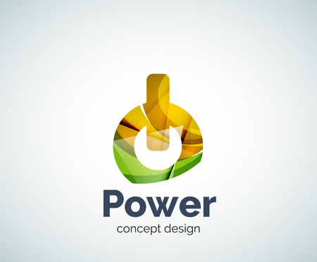 Power button  template, abstract geometric glossy business icon