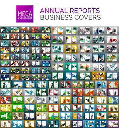 Mega-verzameling van jaarverslag covers - business brochure flyer sjablonen, geometrische abstracte achtergronden