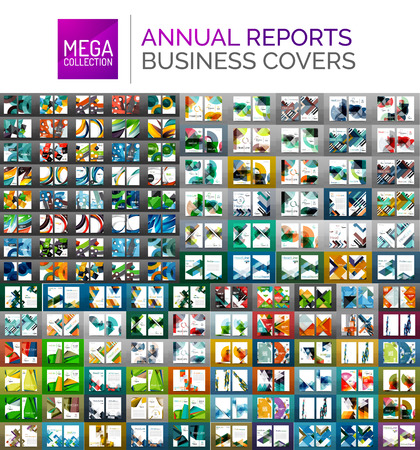 Mega collection of annual report covers - business brochure flyer templates, geometric abstract backgrounds