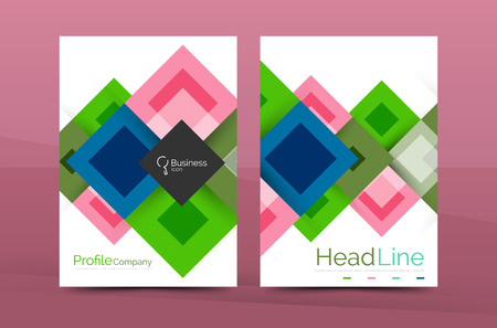blank banner: Set of front and back a4 size pages, business annual report design templates. Geometric square shapes backgrounds. Vector illustration