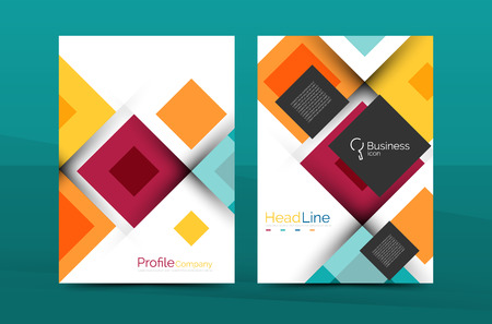 connection block: Set of front and back a4 size pages, business annual report design templates. Geometric square shapes backgrounds. Vector illustration