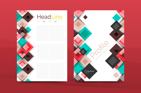 set of front and back a4 size pages business annual report design templates geometric