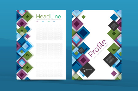 page background: Set of front and back a4 size pages, business annual report design templates. Geometric square shapes backgrounds. Vector illustration
