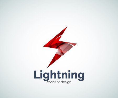 electric power: Lightning  template, abstract geometric glossy business icon Illustration