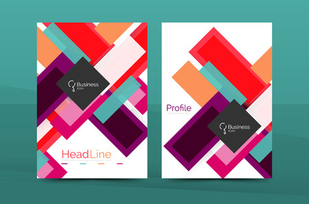 Set of abstract lines backgrounds - business templates. Vector flyer or brochure layout