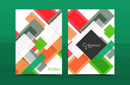 Set of modern geometric business annual report covers. Vector abstract backgrounds Illustration