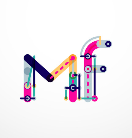 Vector letter  created with colorful connected line elements. Abstract geometric design