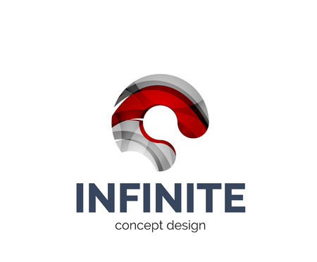 mobius loop: Infinite business branding icon, created with color overlapping elements. Glossy abstract geometric style