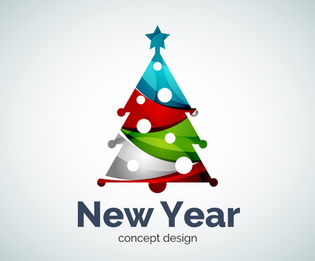 Vector Christmas or New Year tree  template, abstract business icon Illustration