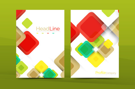 Vector colorful square business annual report cover, brochure template Illustration