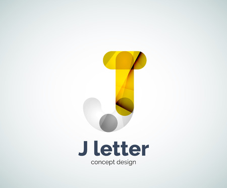 overlapping: Vector j letter  created with overlapping elements