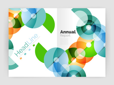 Transparent circle composition on business annual report flyer. Vector illustration Illustration